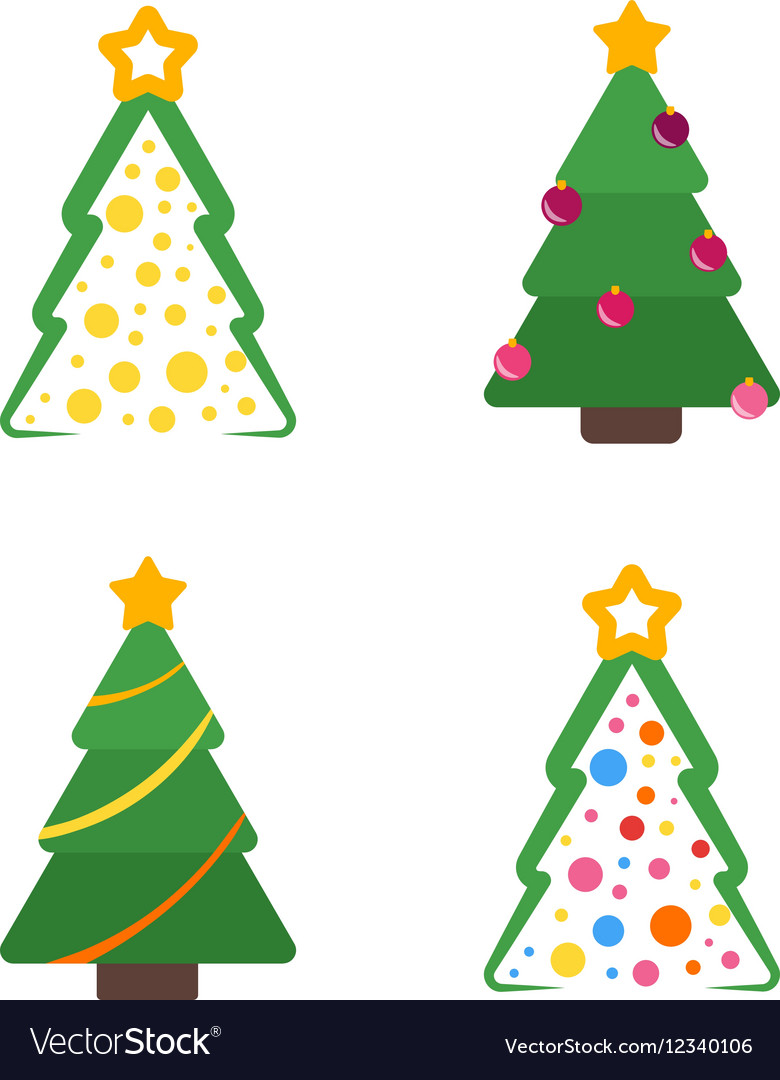 Flat christmas tree with star and garland set vector image