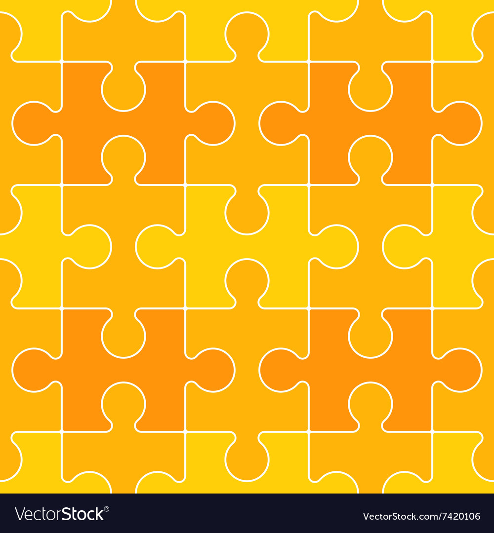 Interconnected Yellow Puzzle Piece Background vector image