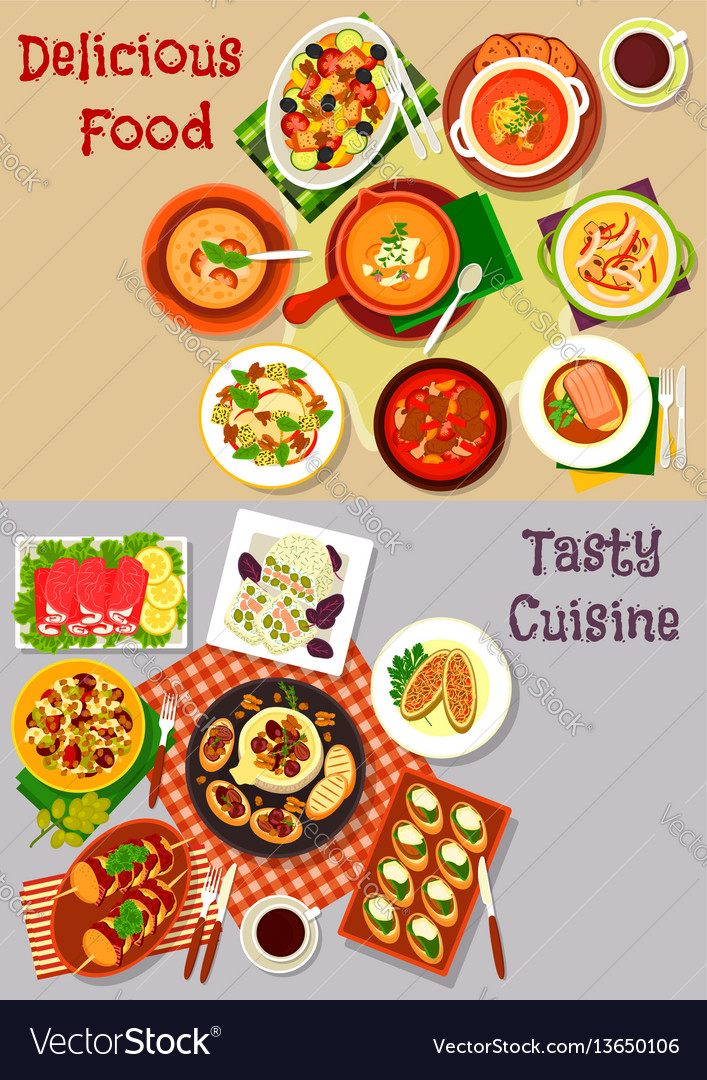 Salad snack and soup dishes icon for food design vector image
