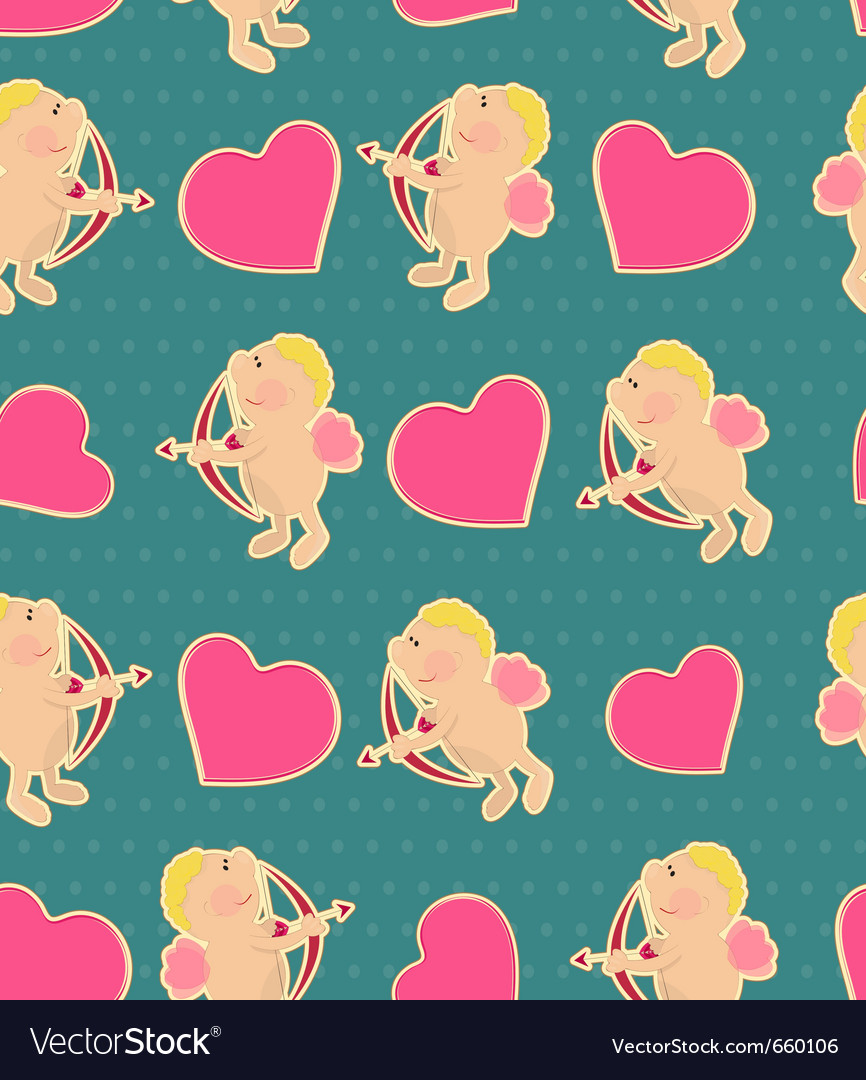 Seamless background for valentines day in vintage vector image