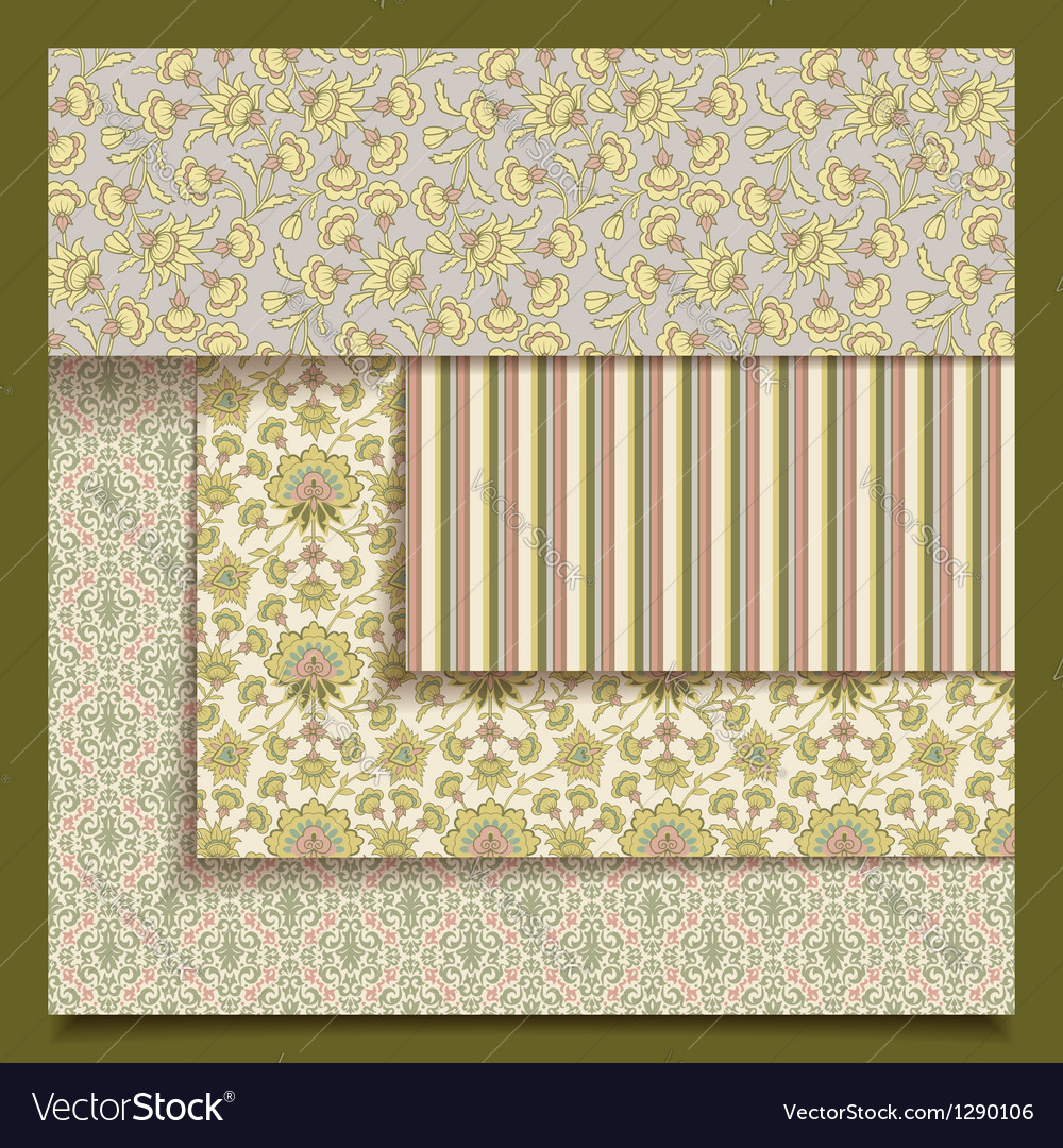 Set of seamless retro fabric or paper patterns vector image