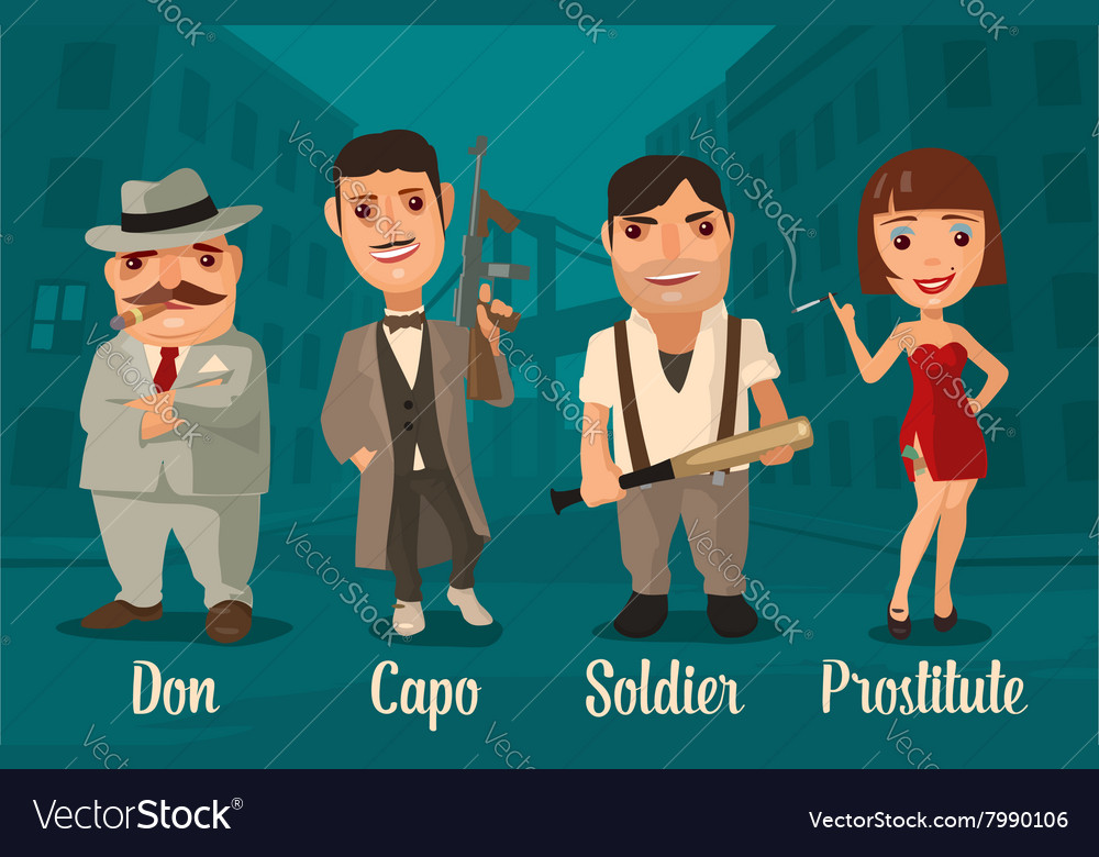 Set person Mafia Don capo soldier prostitute vector image