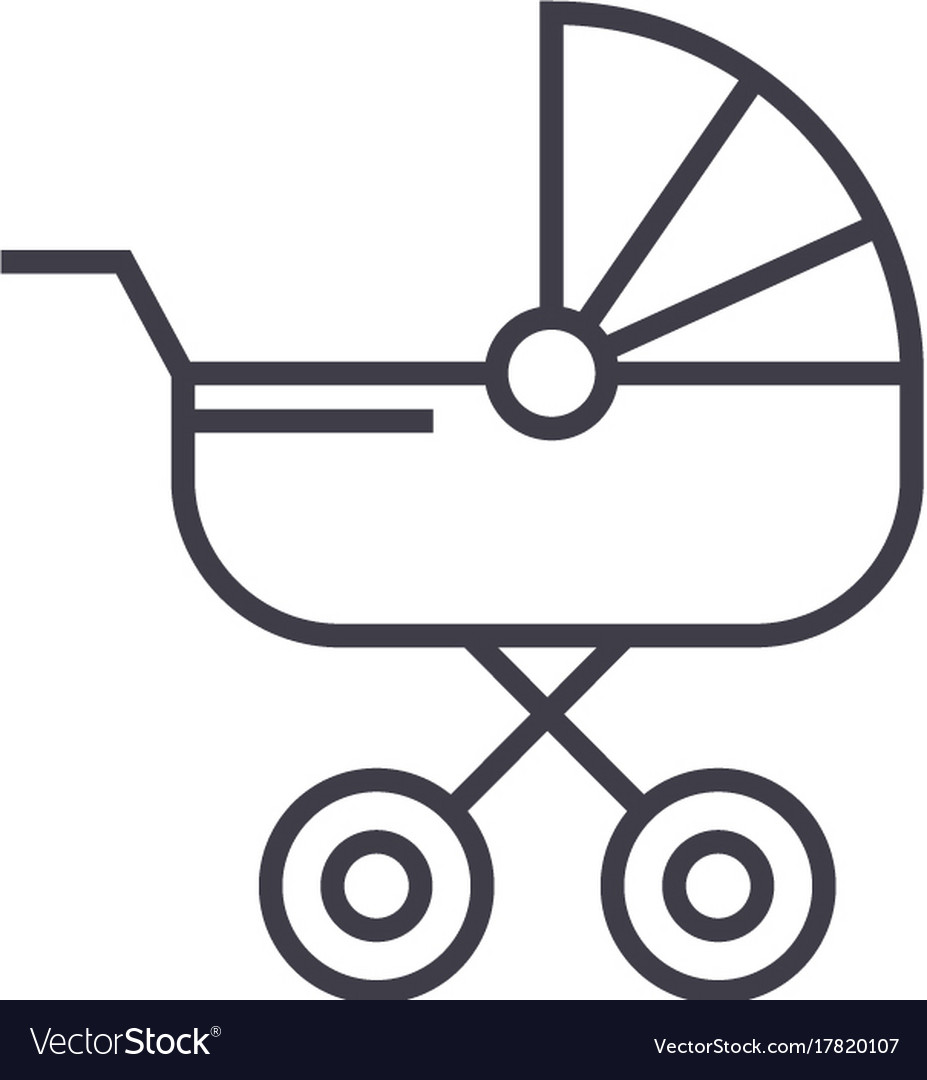 Baby carriage line icon sign vector image