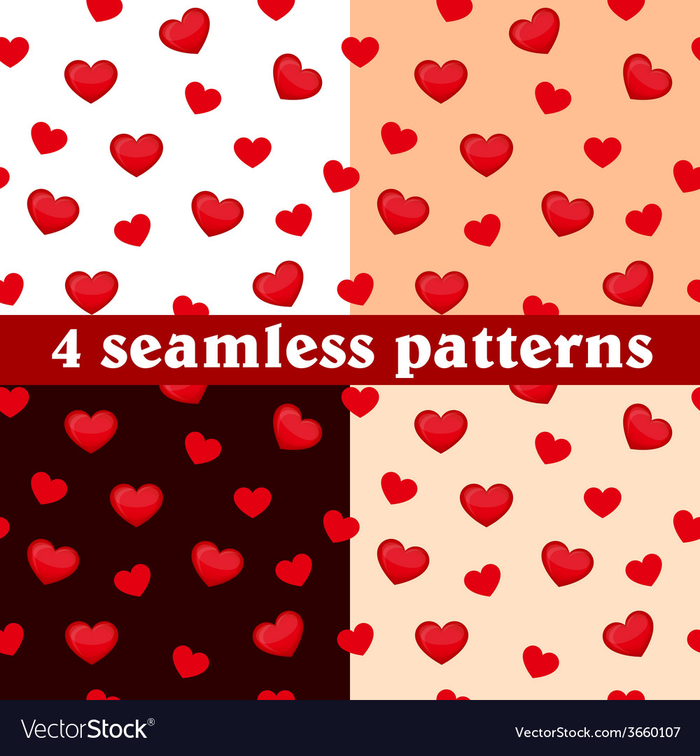 Set of seamless patterns hearts vector image