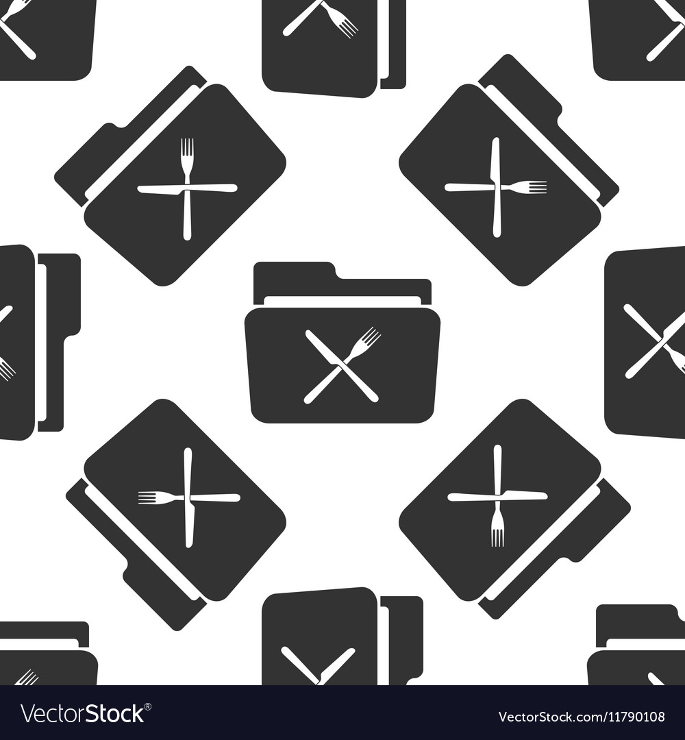 Crossed fork over knife grey folder icon seamless vector image