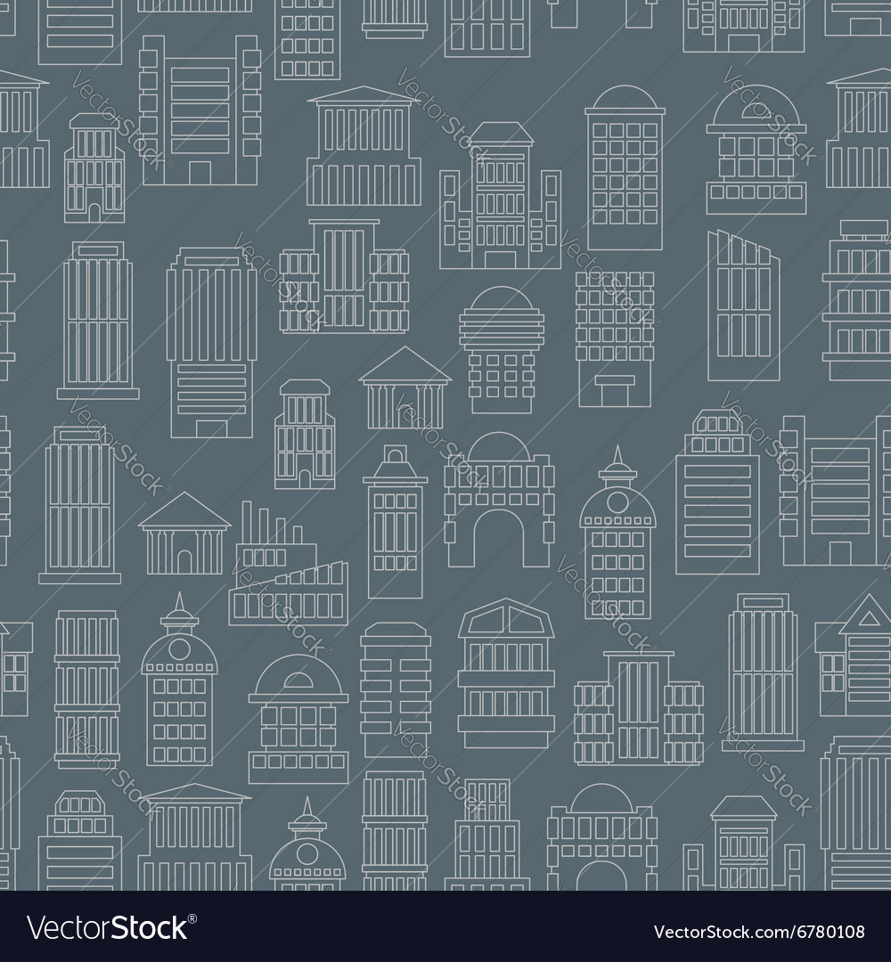 Night city pattern Silhouettes of buildings in the vector image