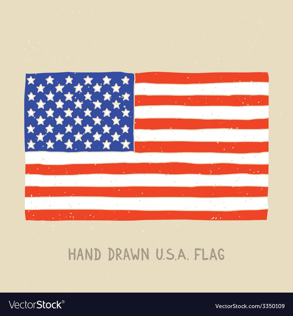 Hand drawn american flag vector image
