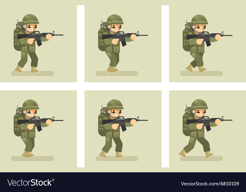 soldier flat design run animation frames vector image - Military Frames
