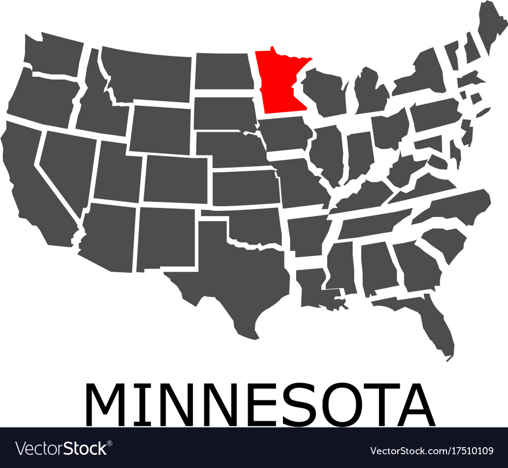 State Of Minnesota On Map Of Usa Royalty Free Vector Image - Map of minnisota