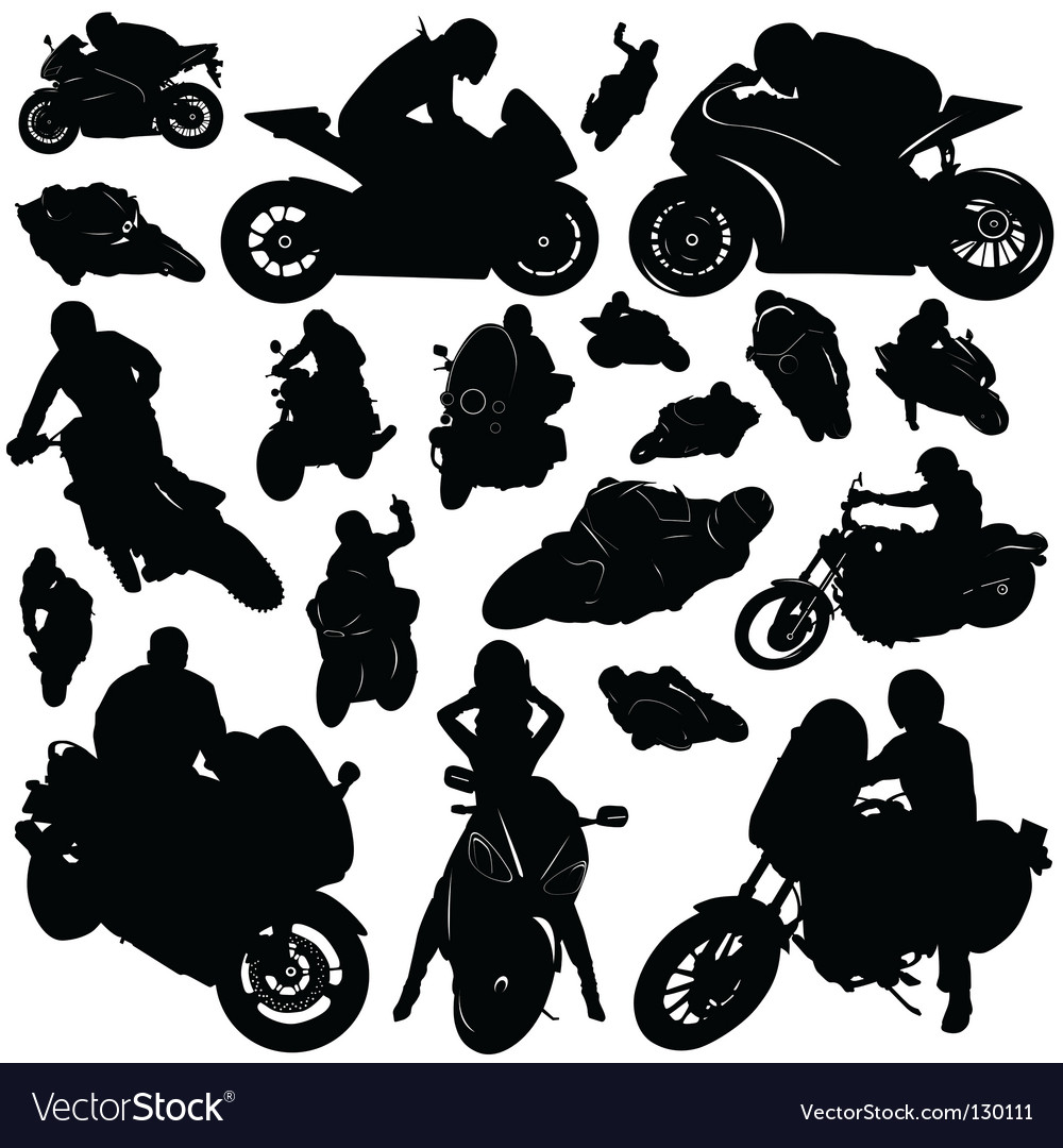 Collection of motorcycle and rider Vector Image