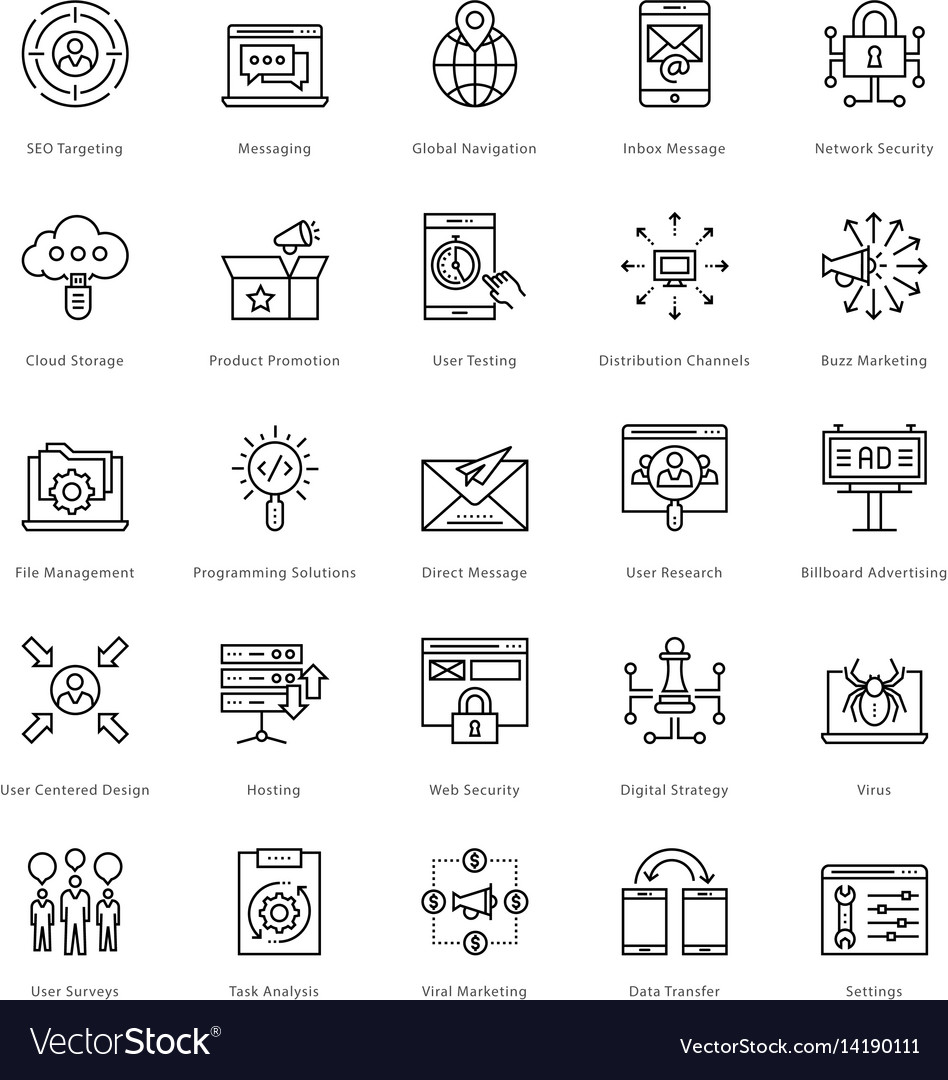 Web and seo line icons 55 vector image