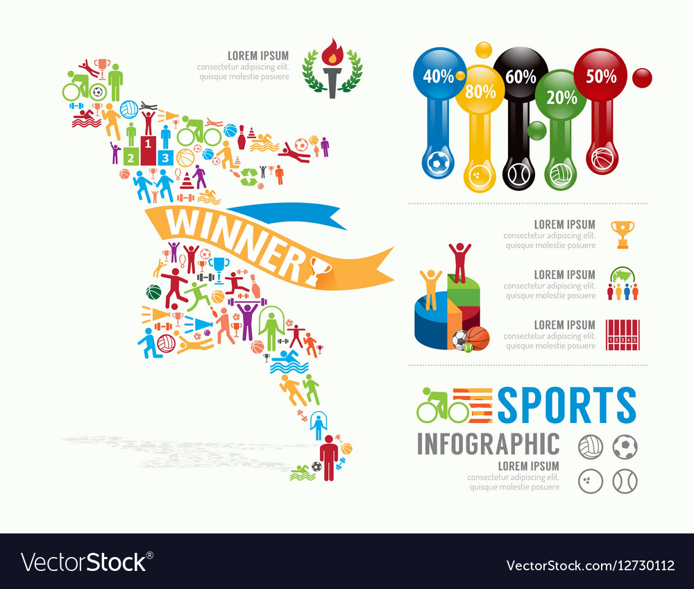 Sports template design infographic concept vector image for Sports infographics templates