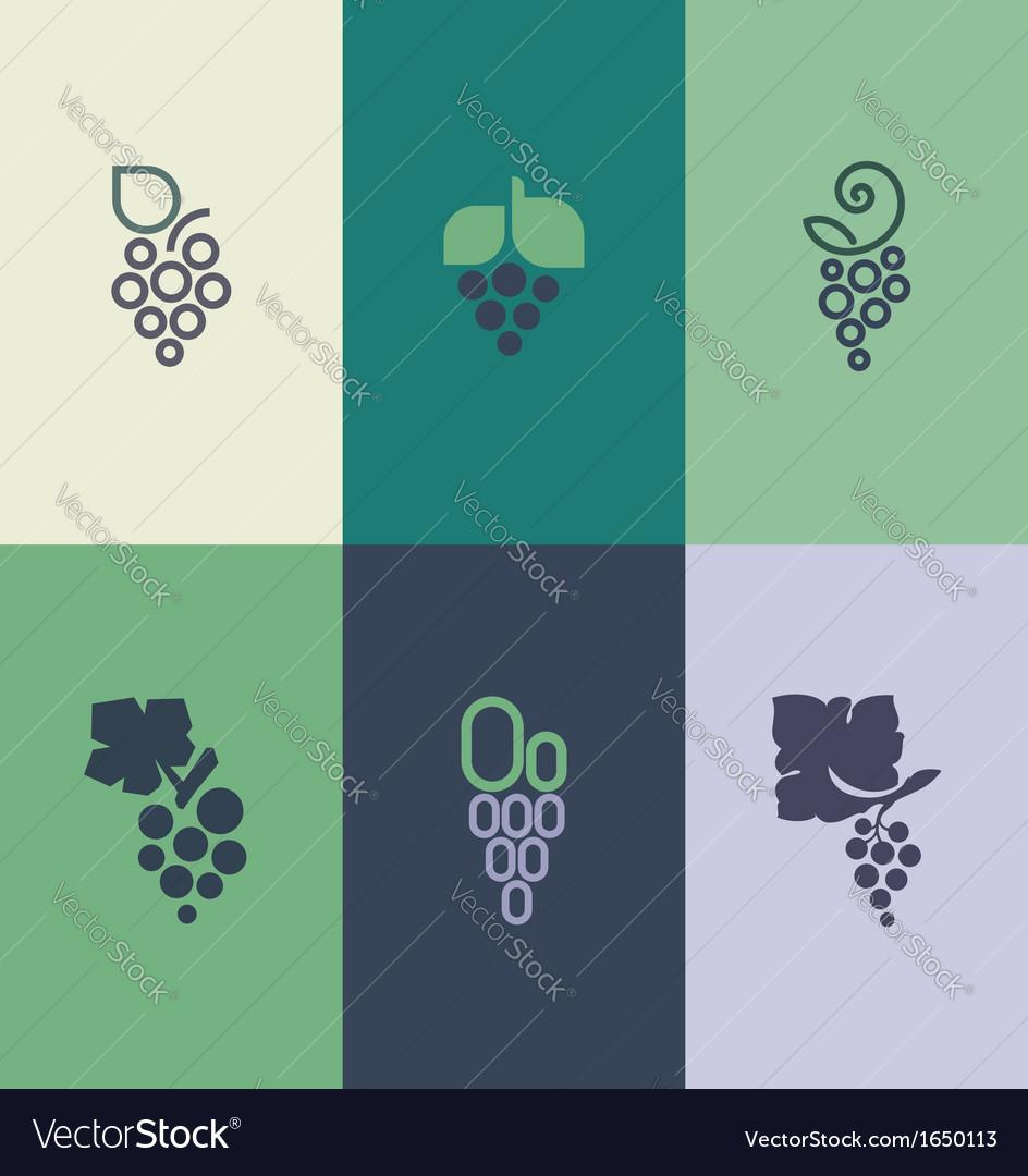 Grape with leaf Logo templates set vector image