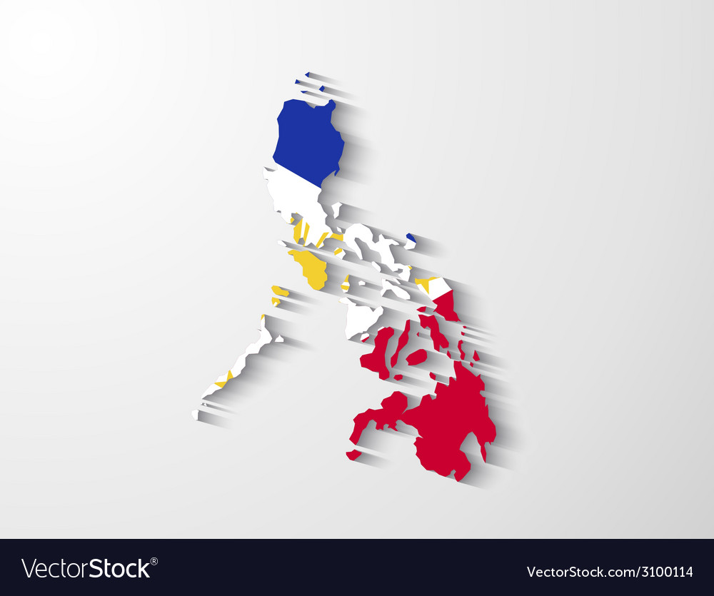 Philippines Map With Shadow Effect Presentation Vector Image - Map philippines