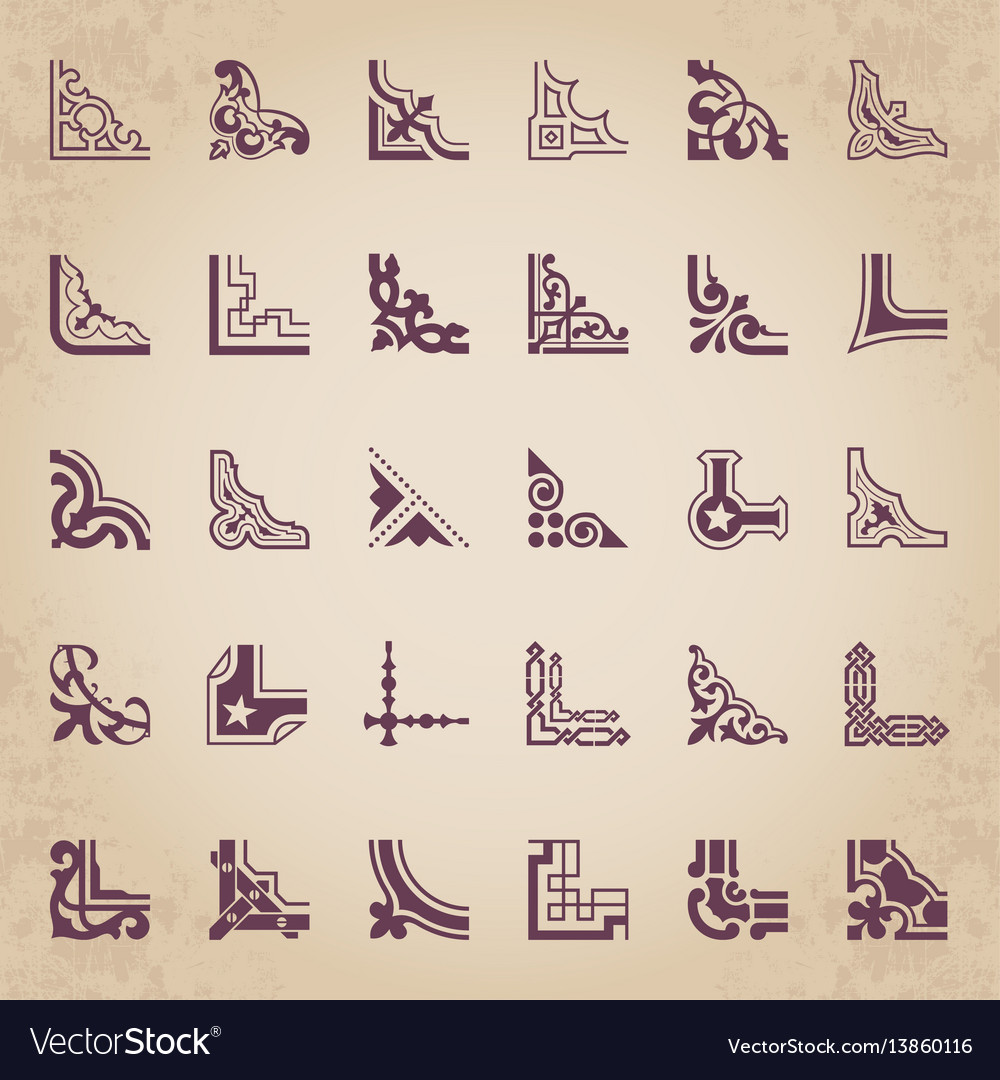 Calligraphic corners in retro style vector image