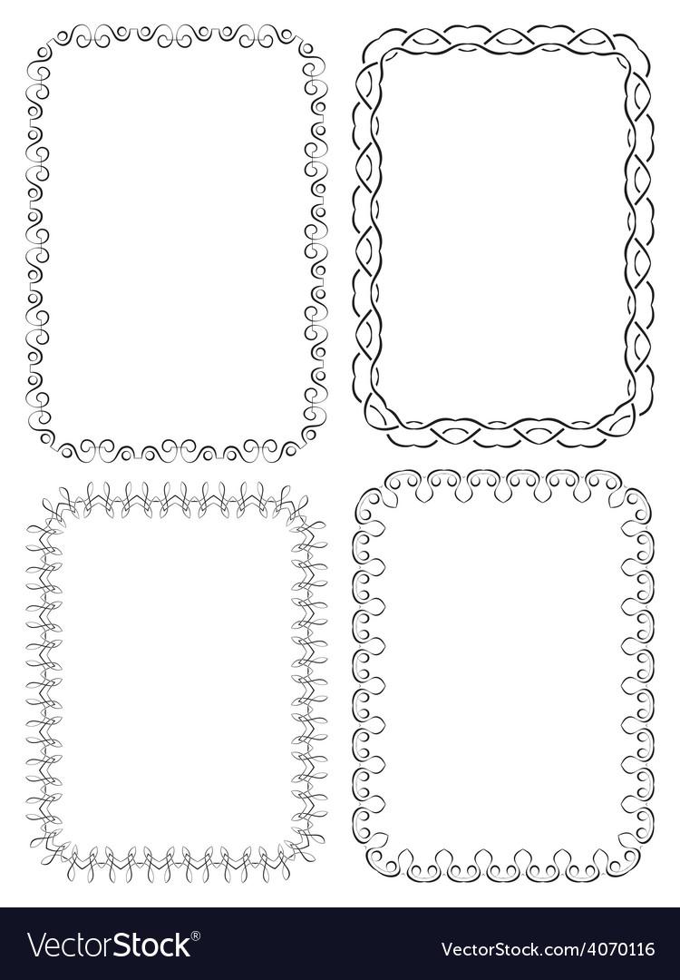 set of elegant frames on a white background vector image - Elegant Frames