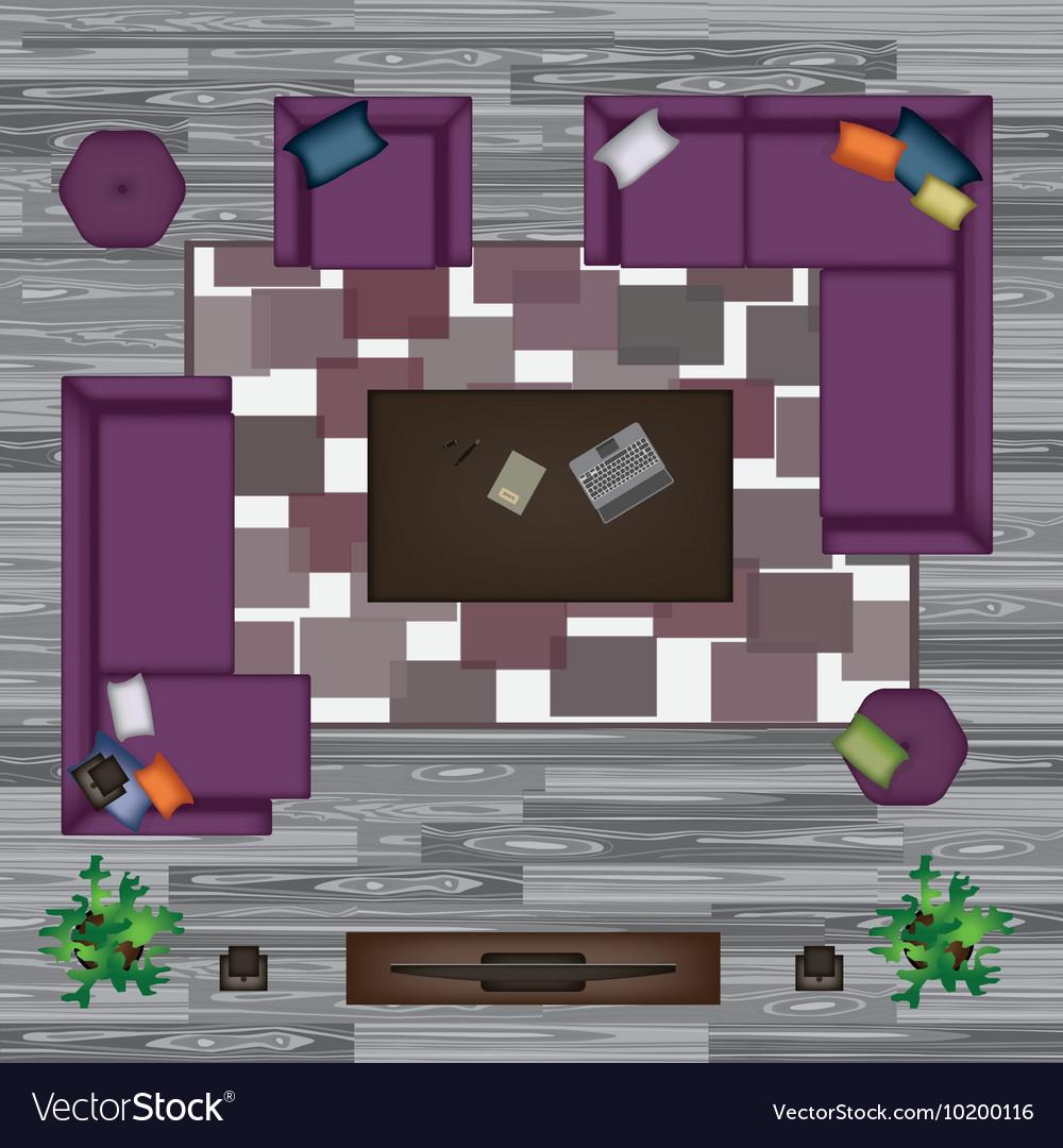 Sofa Armchair Pillows Carpet Coffee Table vector image
