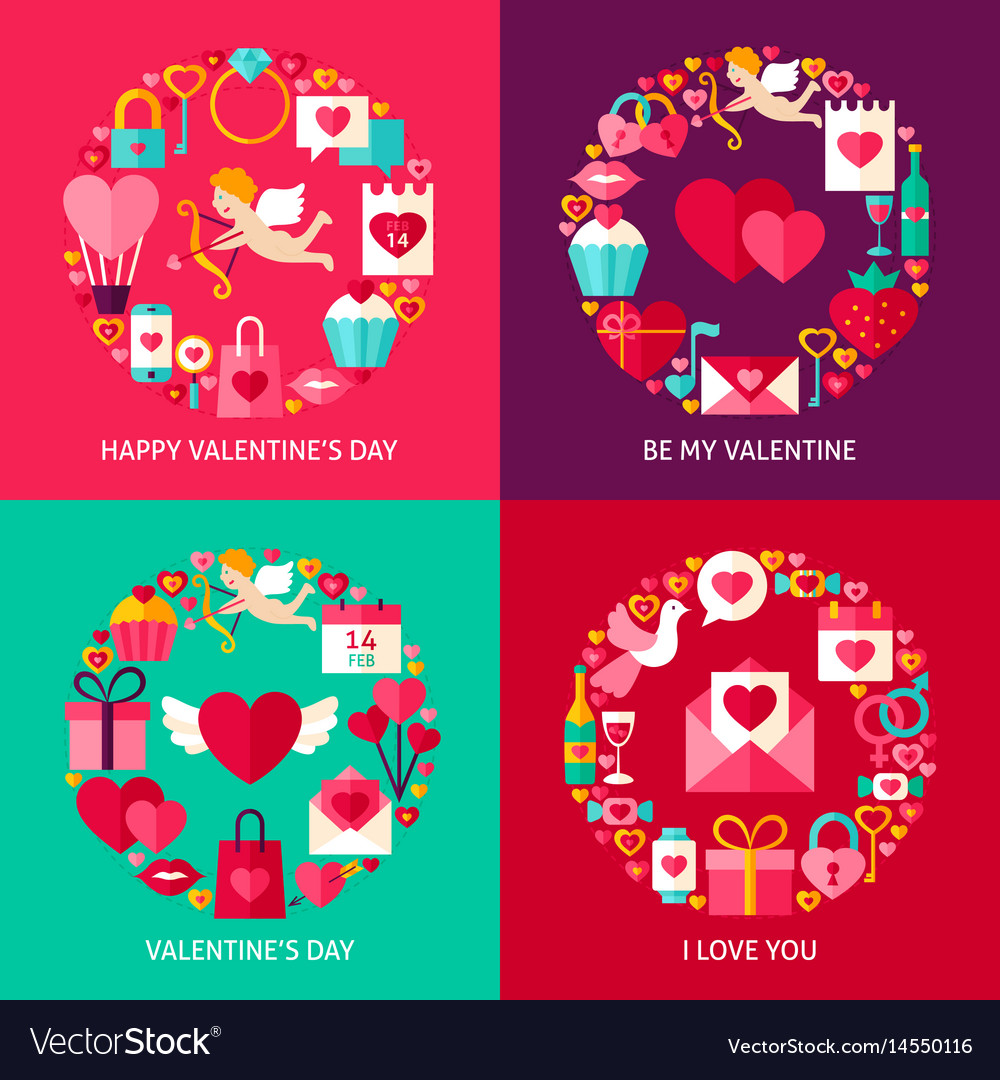 Valentines day concepts set vector image