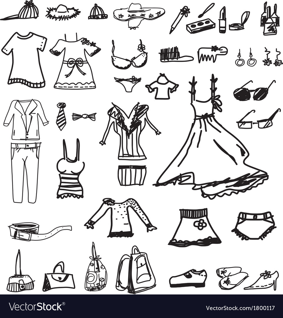 Fashion icons sketch on white background vector image
