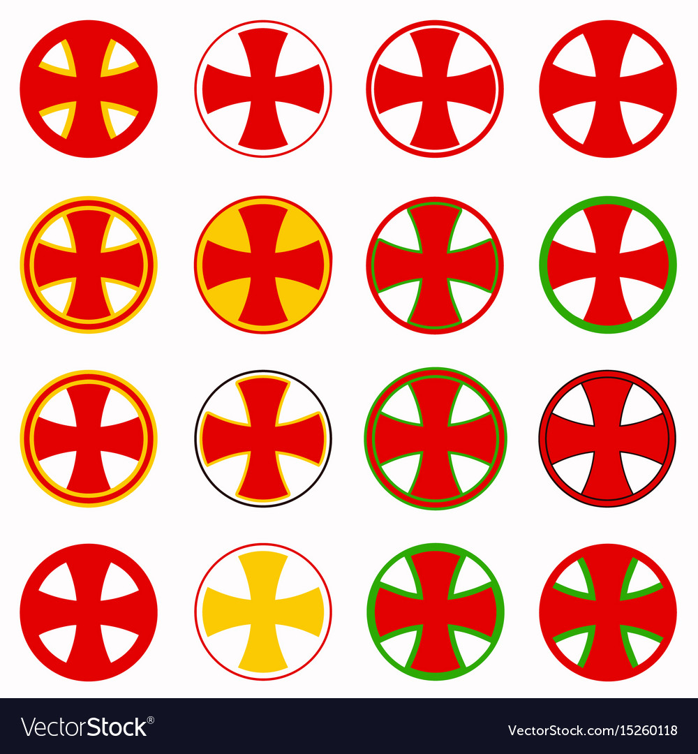 Red pharmacy cross set vector image