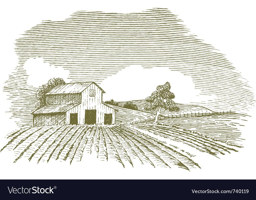 Farm scene landscape with barn vector image