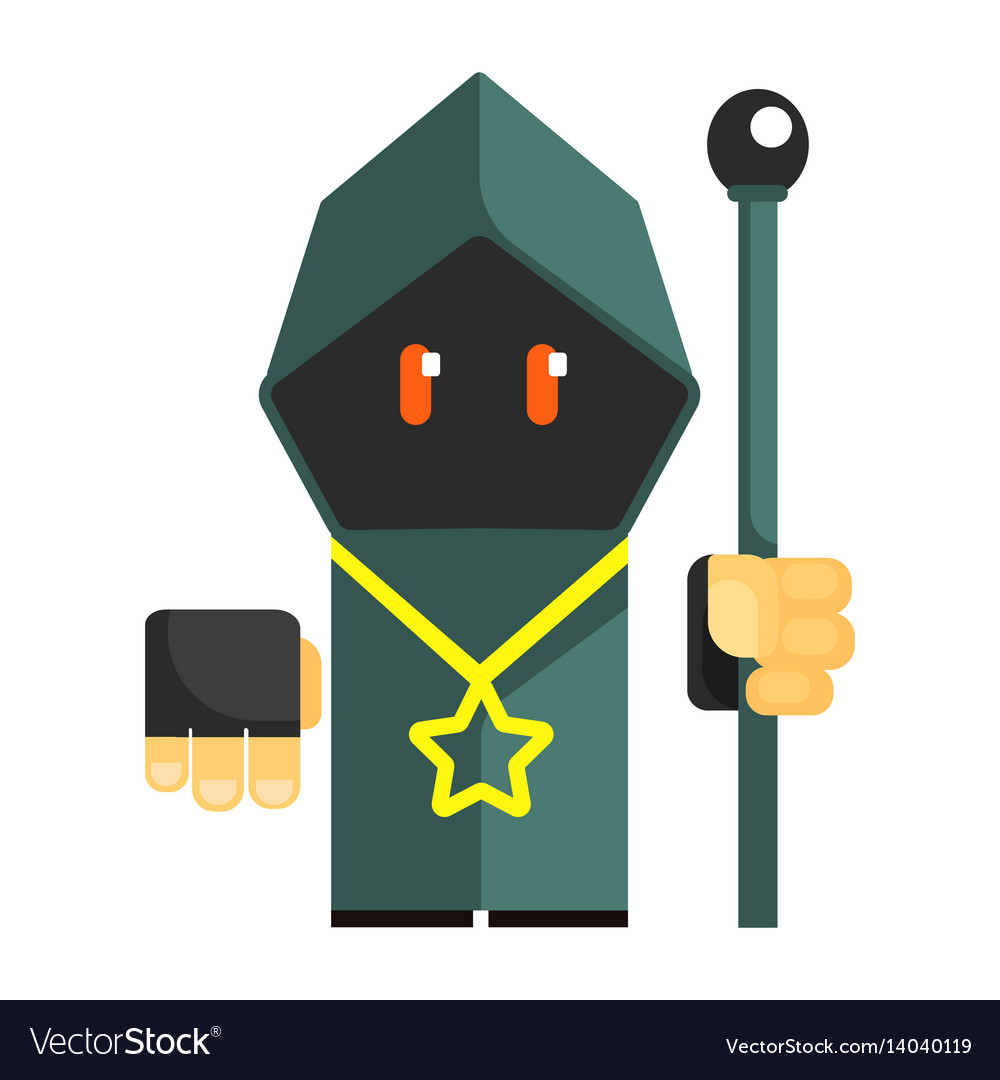 Cartoon mysterious gnome in a gray cape with vector image
