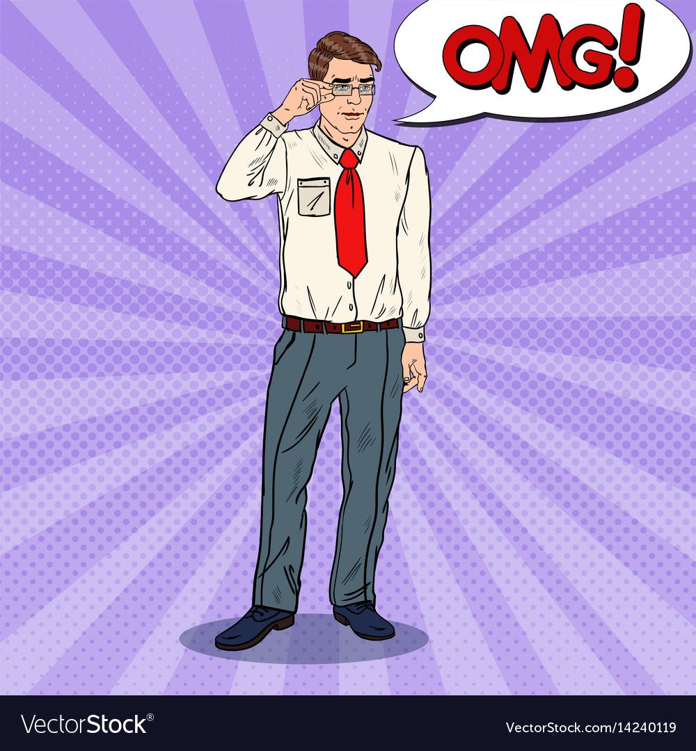 Pop art confused businessman in eyeglasses vector image