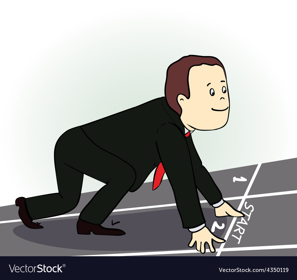 Young businessman standing in start position vector image