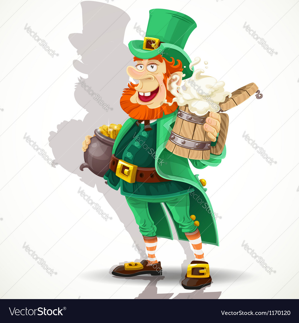 cute leprechaun with beer and pot of gold vector imagecute leprechaun   beer and pot of gold vector image