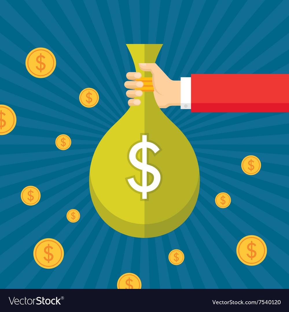 Dollar bag in human hand vector image