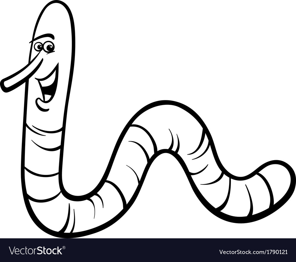 Earthworm cartoon coloring page Royalty Free Vector Image