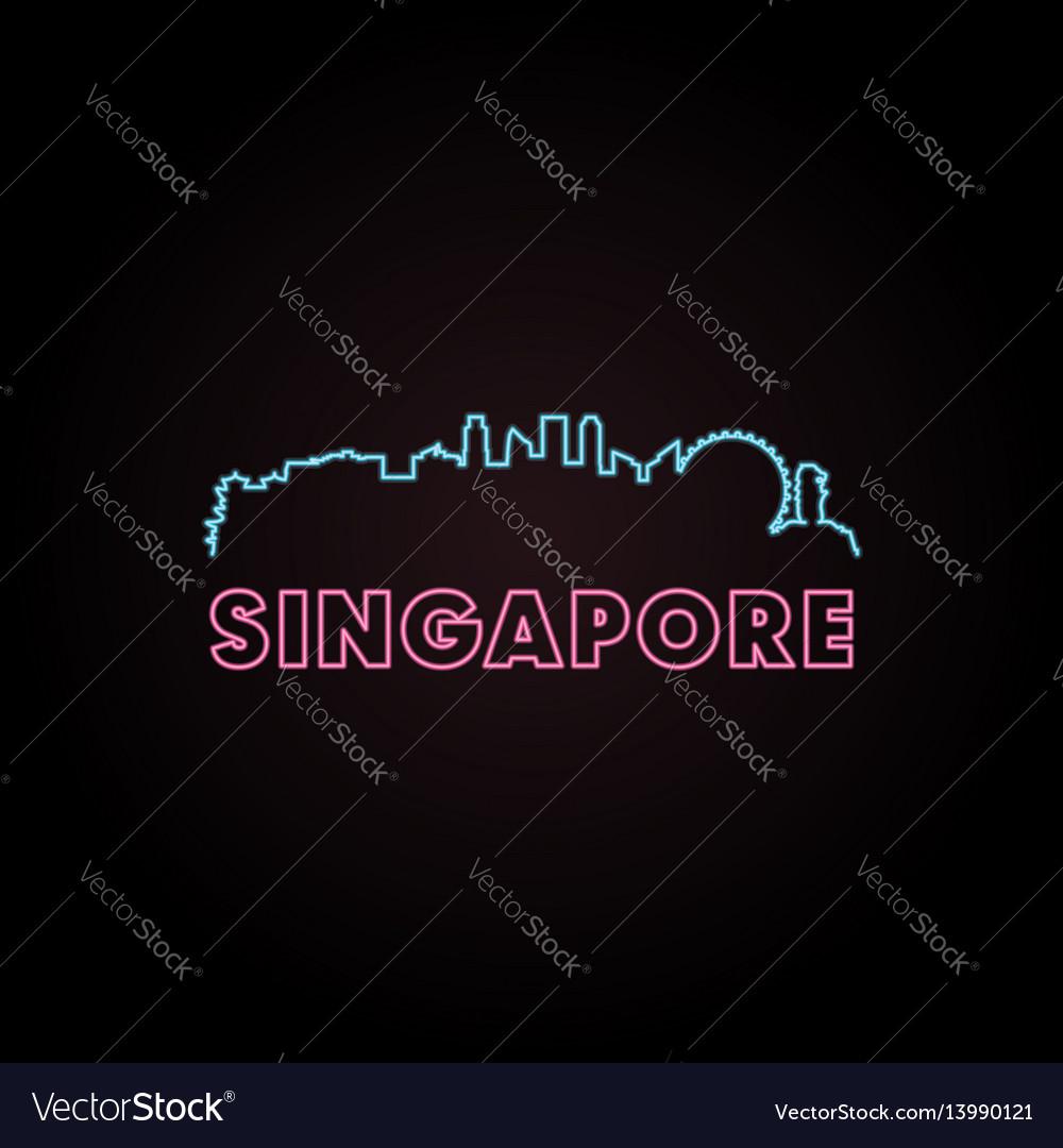 Singapore skyline neon style vector image