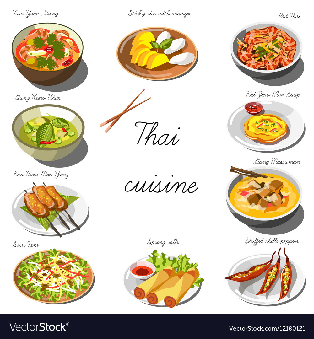 thai cuisine set collection of food dishes vector image. Black Bedroom Furniture Sets. Home Design Ideas