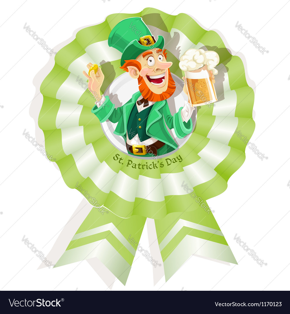 Rosette on St Patricks Day with Leprechaun vector image