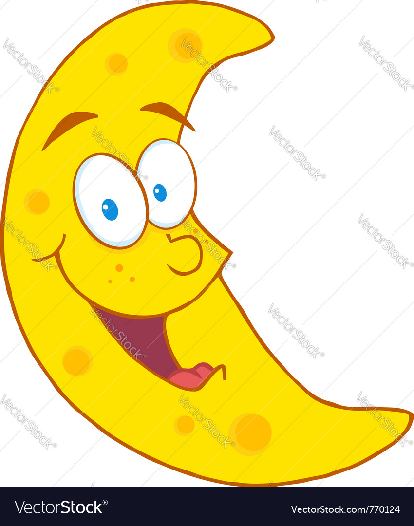 Half Crescent Moon With Face Tattoo: Happy Crescent Moon Royalty Free Vector Image