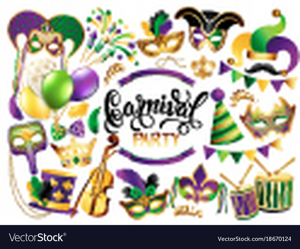 Mardi gras french traditional symbols collection vector image m4hsunfo Images
