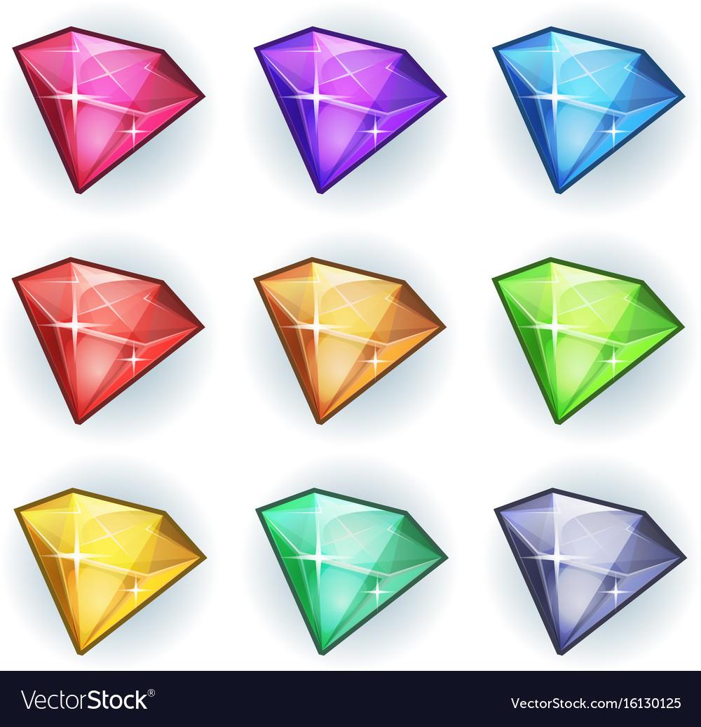 Cartoon gems and diamonds icons set Royalty Free Vector