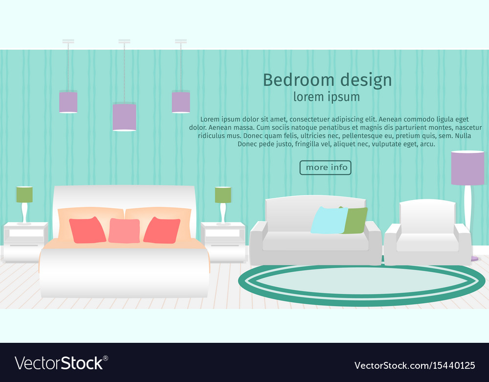 Web design banner of bedroom interior with vector image