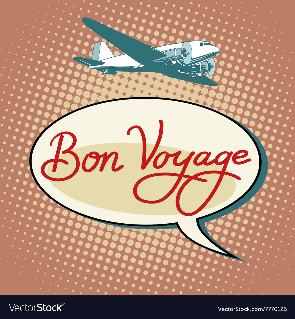 Bon voyage plane tourism flights vector image
