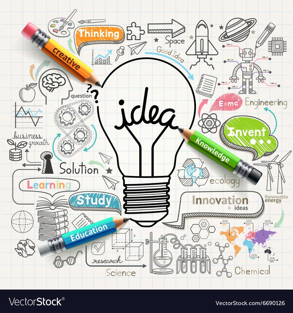 Lightbulb ideas concept doodles icons set vector image