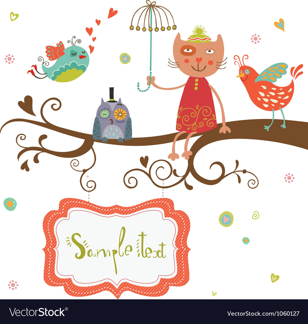 Card cat and birds Vector Image