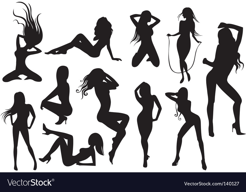 Stripper silhouettes vector image