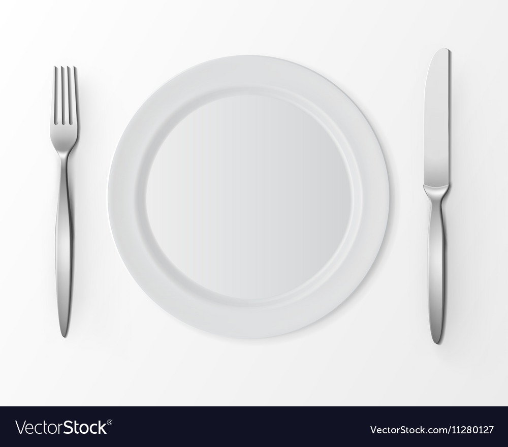 & White Plate with Fork and Knife Table Setting Vector Image