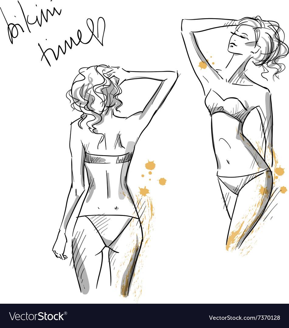 Drawing of beautiful girls wearing bikini vector image