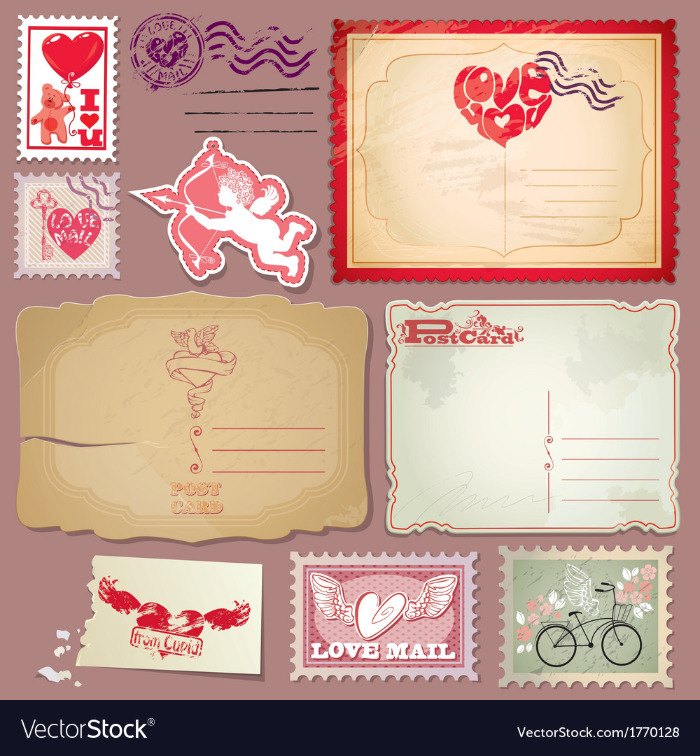 Set of vintage postcards and post stamps for Valen vector image