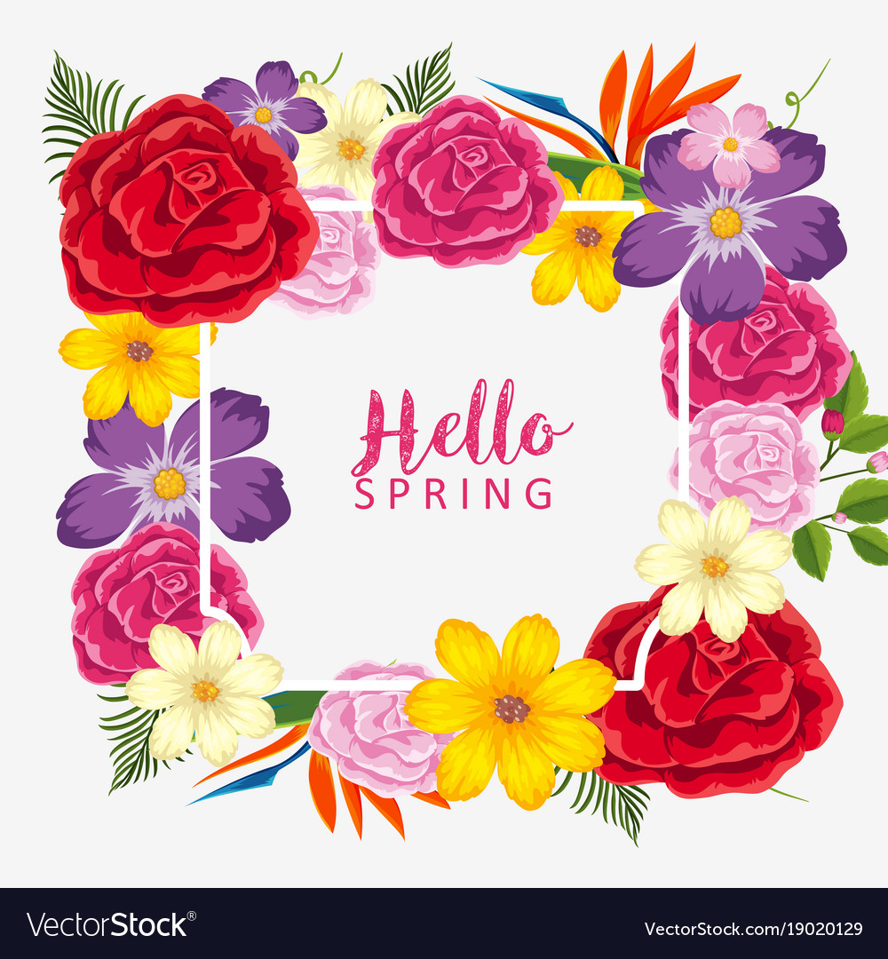 Border template wtih different types of flowers vector image kristyandbryce Images