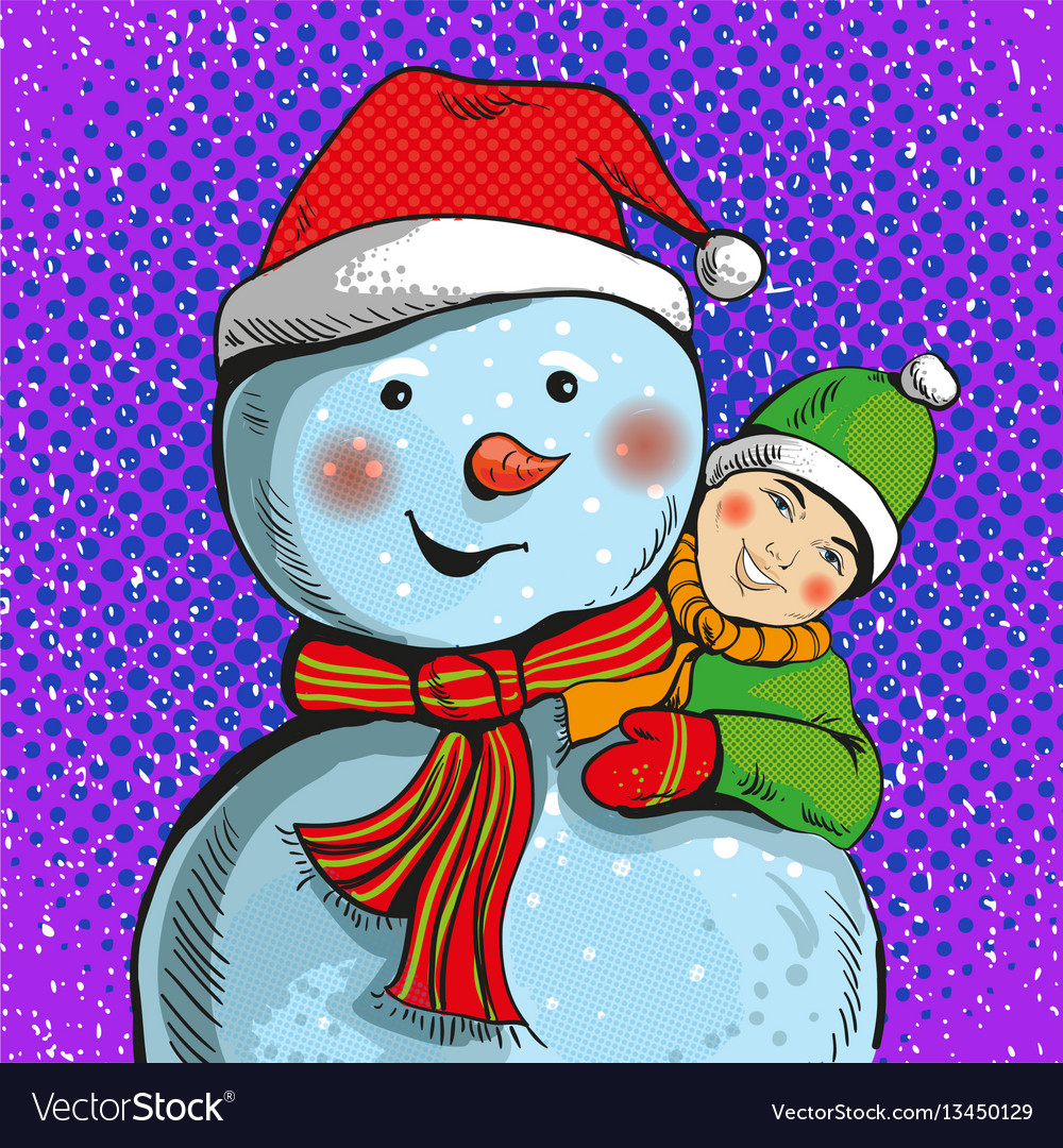 Snowman and boy in pop art vector image