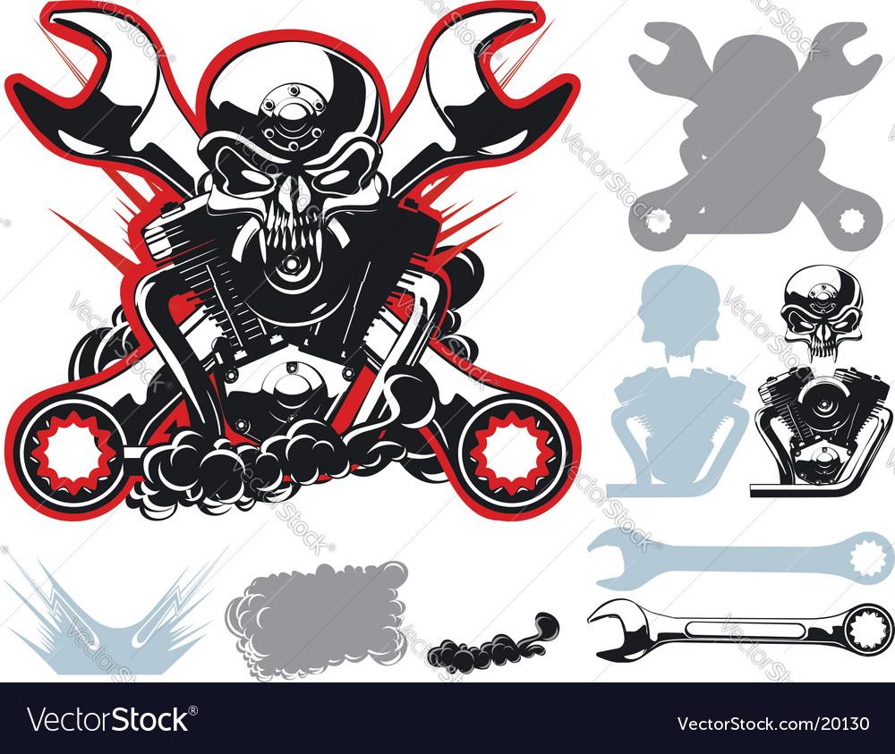 Bikers symbols set vector image