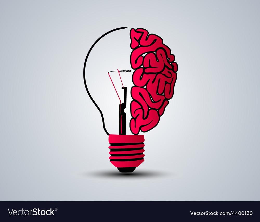 Idea brain bulb vector image