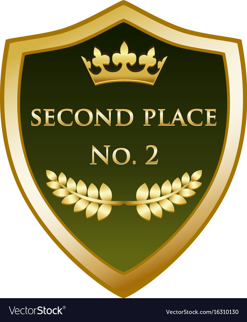 Second place gold shield vector image